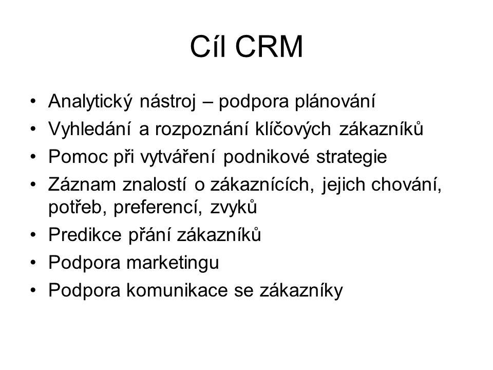 Cíl CRM Analytický nástroj – podpora plánování