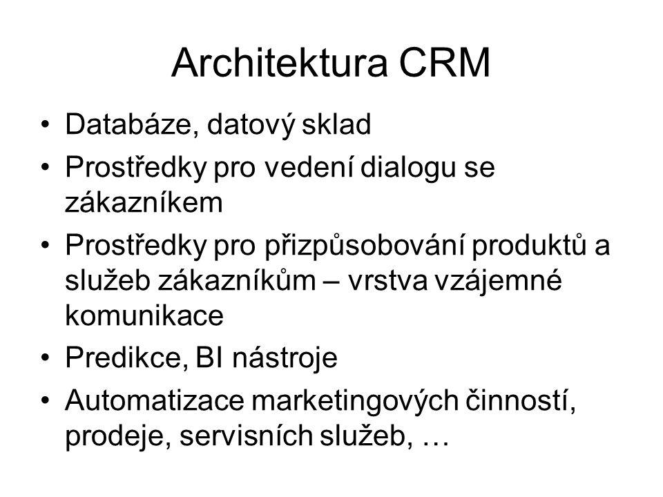 Architektura CRM Databáze, datový sklad
