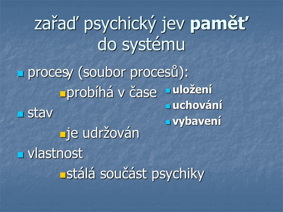 zařaď psychický jev paměť do systému