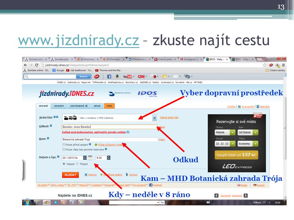 www.jizdnirady.cz – zkuste najít cestu