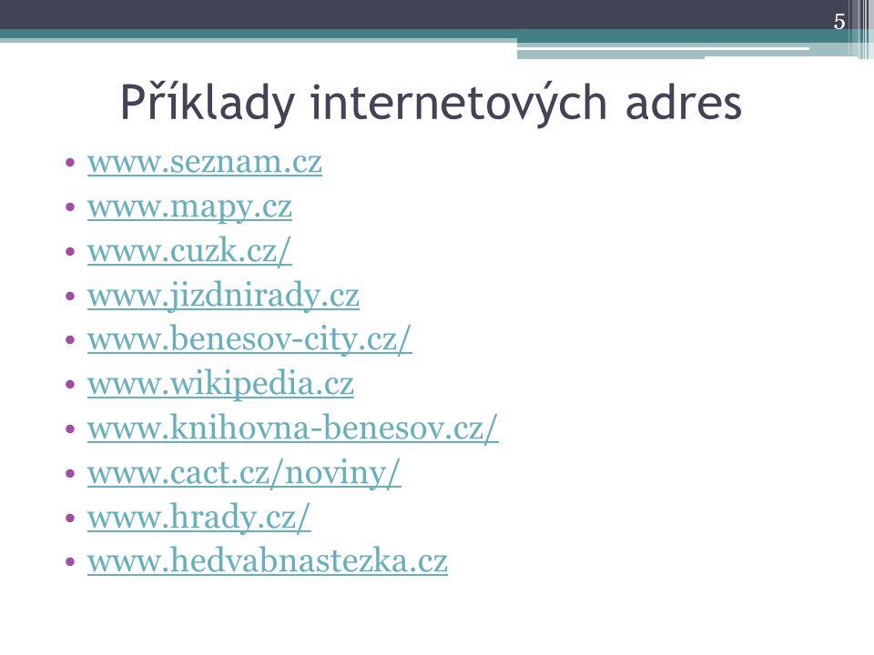 Příklady internetových adres