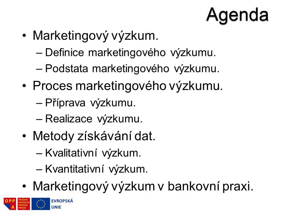 Agenda Marketingový výzkum. Proces marketingového výzkumu.