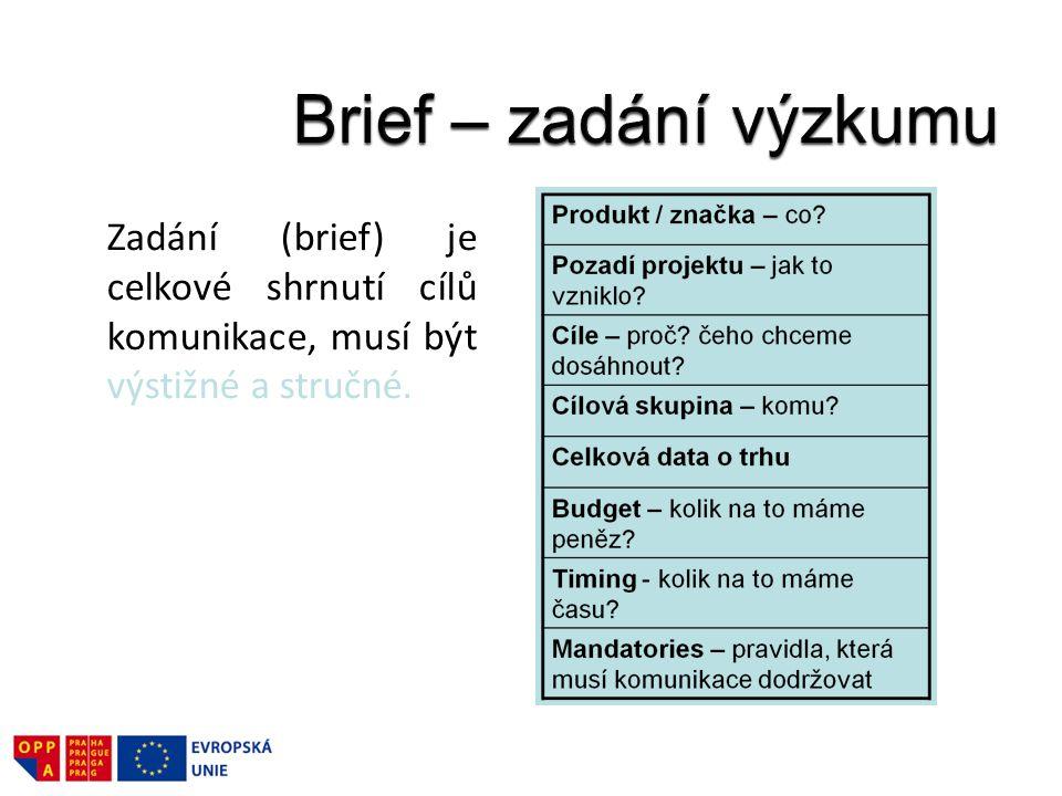 Brief – zadání výzkumu Zadání (brief) je celkové shrnutí cílů komunikace, musí být výstižné a stručné.