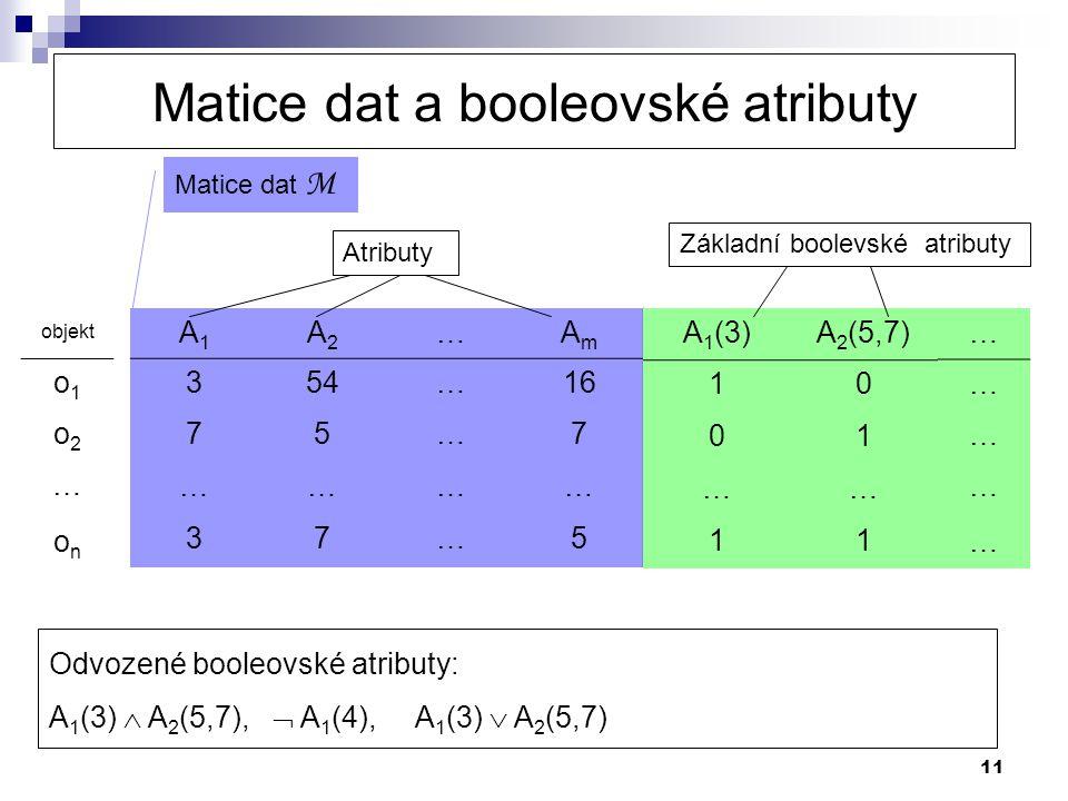 Matice dat a booleovské atributy