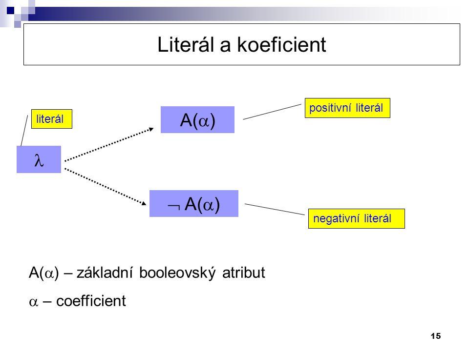 Literál a koeficient A()   A() A() – základní booleovský atribut