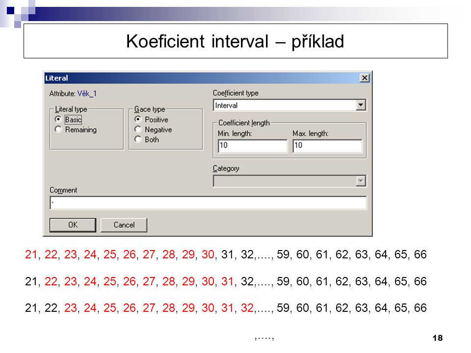 Koeficient interval – příklad
