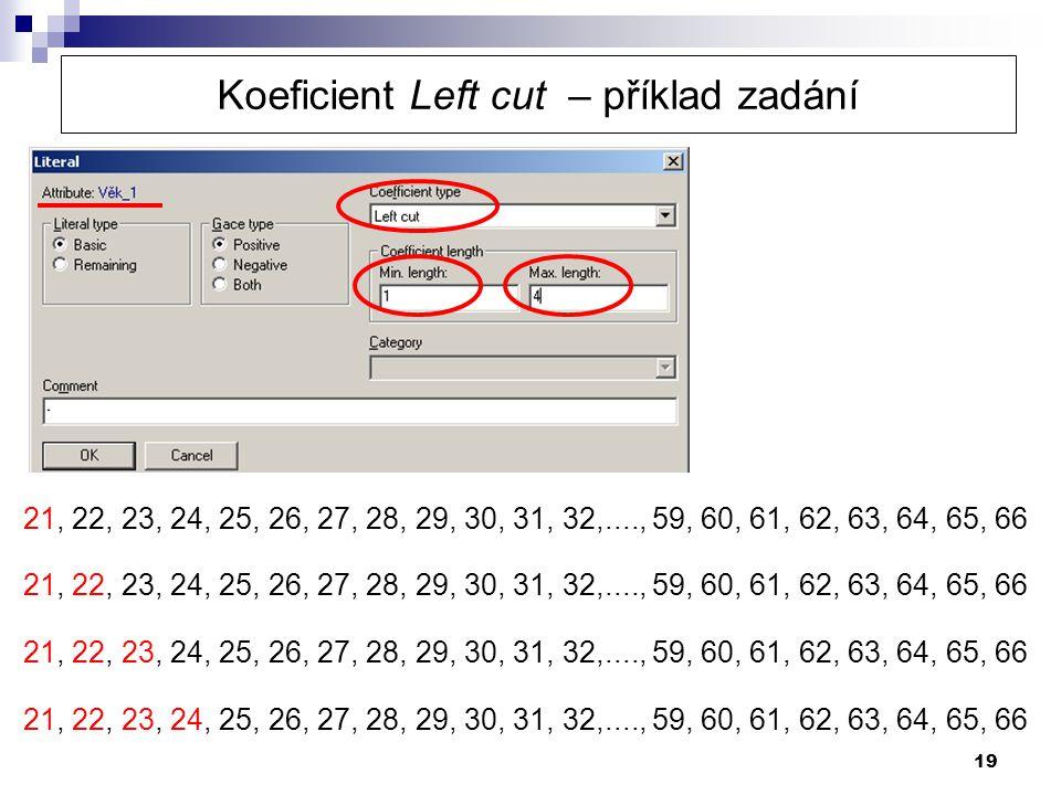 Koeficient Left cut – příklad zadání