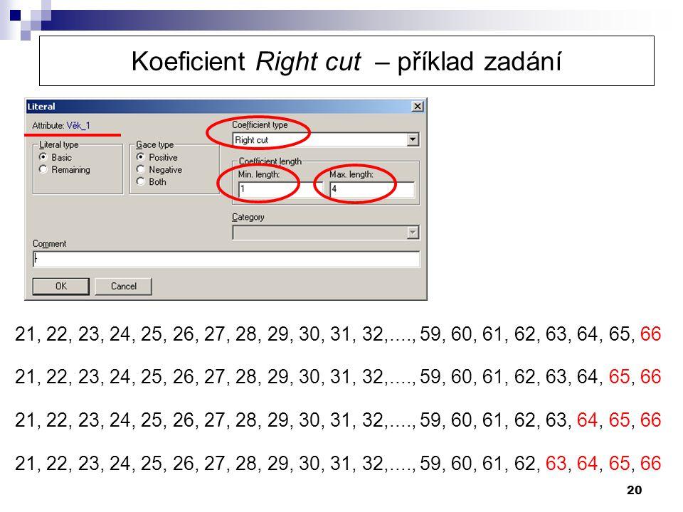 Koeficient Right cut – příklad zadání