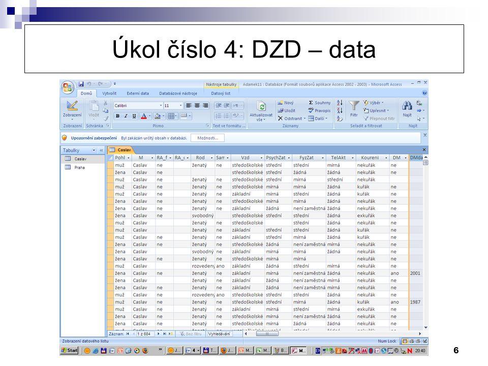 Úkol číslo 4: DZD – data