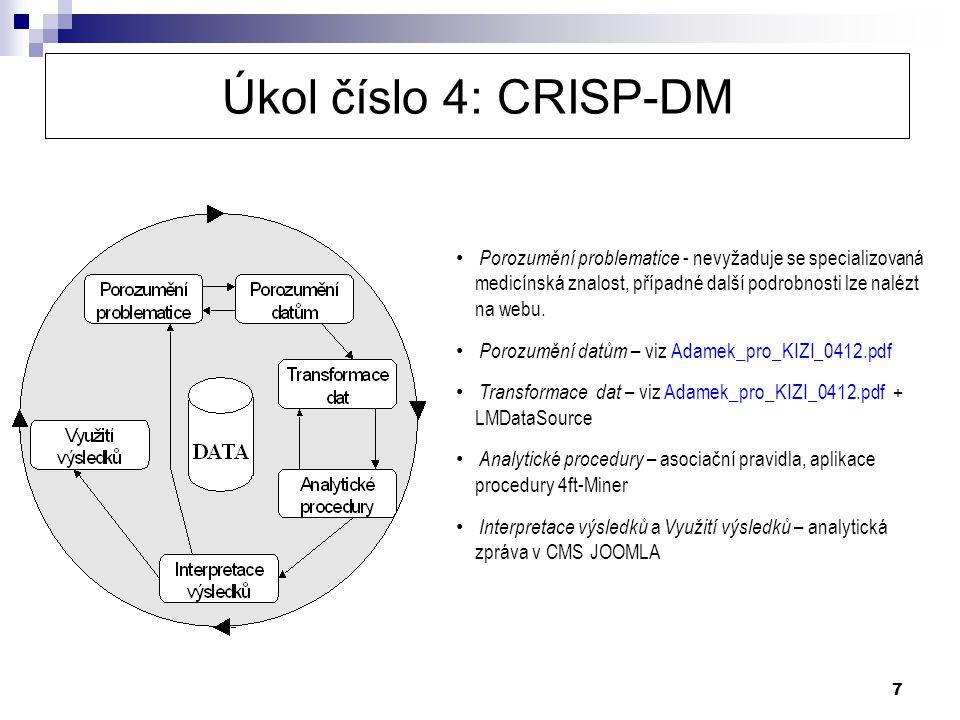Úkol číslo 4: CRISP-DM Porozumění problematice - nevyžaduje se specializovaná medicínská znalost, případné další podrobnosti lze nalézt na webu.
