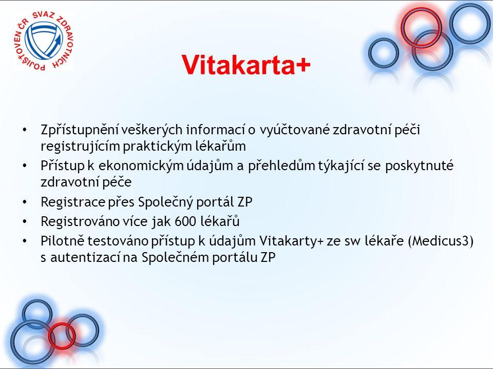 Vitakarta+ Zpřístupnění veškerých informací o vyúčtované zdravotní péči registrujícím praktickým lékařům.