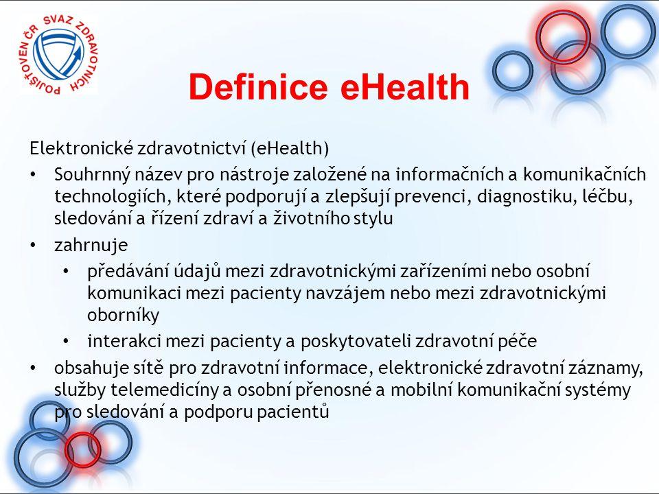 Definice eHealth Elektronické zdravotnictví (eHealth)