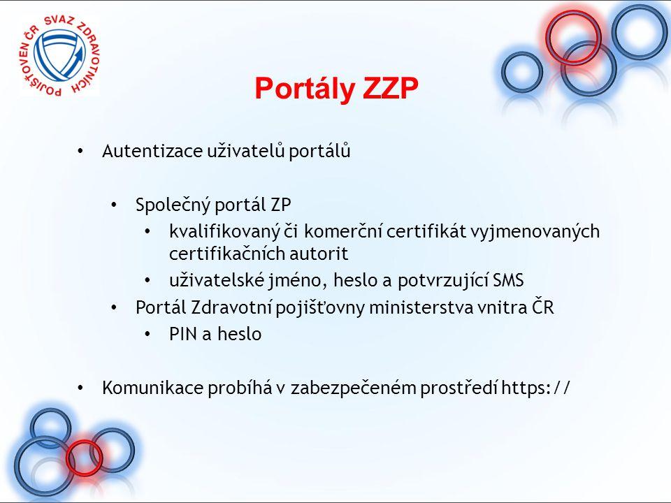 Portály ZZP Autentizace uživatelů portálů Společný portál ZP