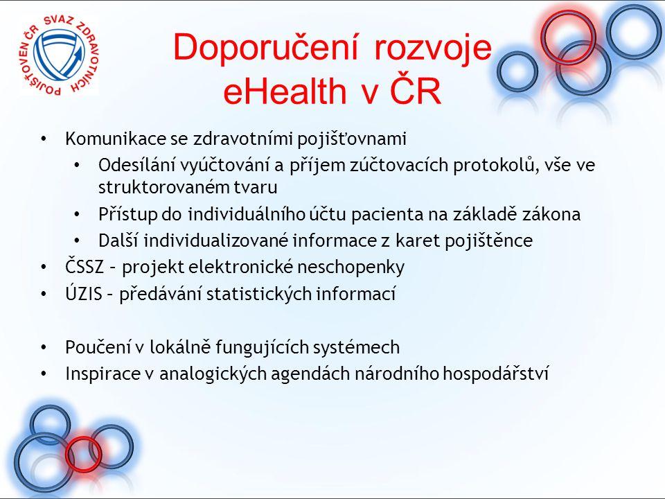 Doporučení rozvoje eHealth v ČR Komunikace se zdravotními pojišťovnami