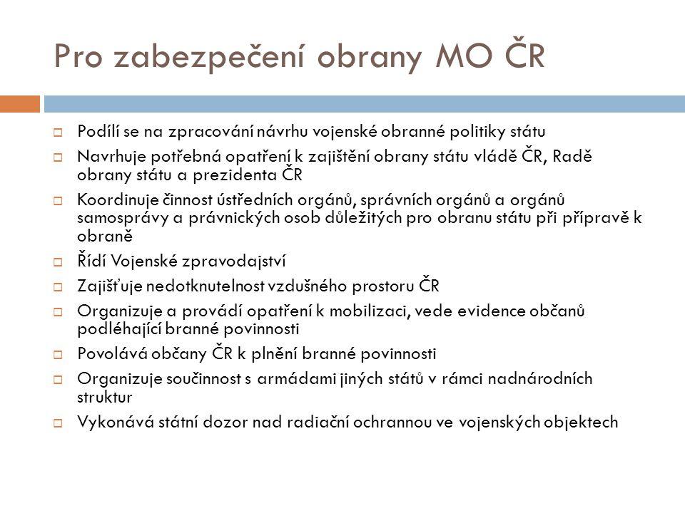 Pro zabezpečení obrany MO ČR