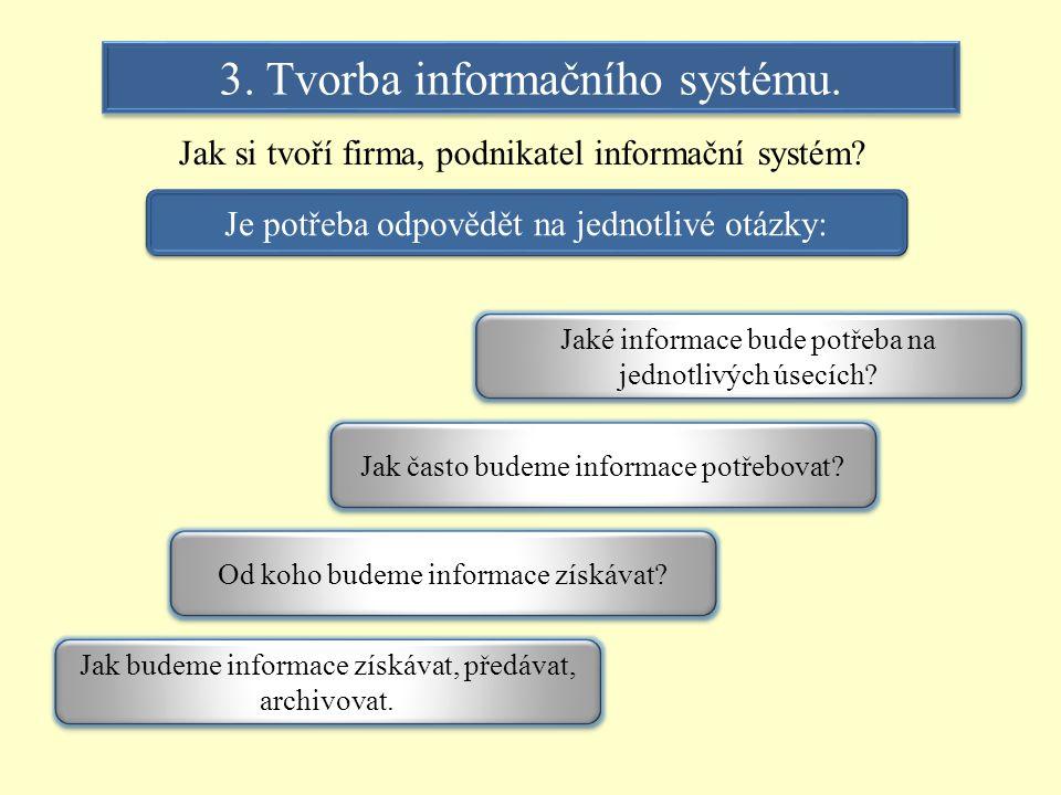3. Tvorba informačního systému.