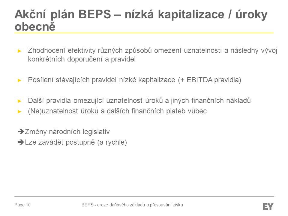 Akční plán BEPS – nízká kapitalizace / úroky obecně