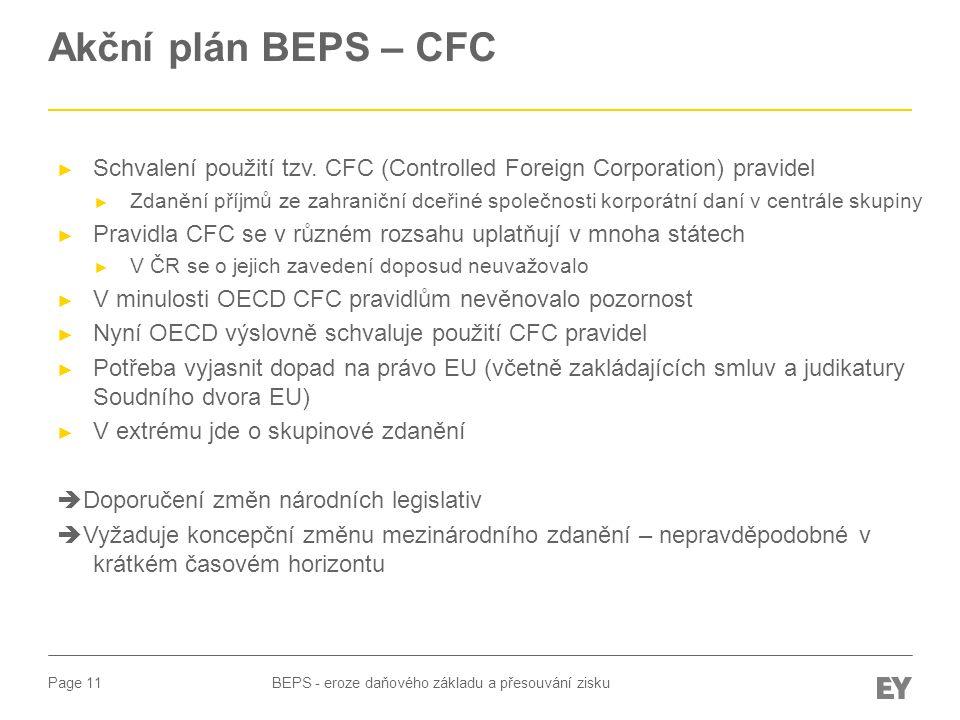 Akční plán BEPS – CFC Schvalení použití tzv. CFC (Controlled Foreign Corporation) pravidel.