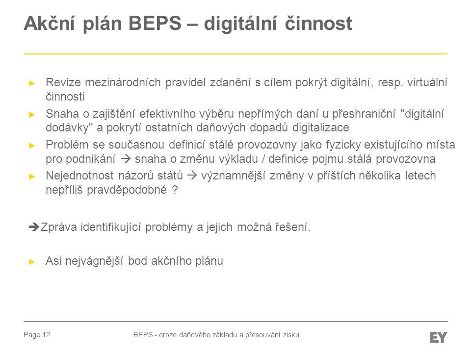 Akční plán BEPS – digitální činnost