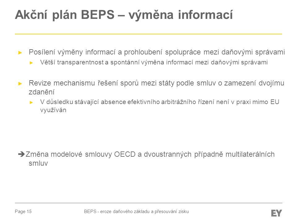 Akční plán BEPS – výměna informací