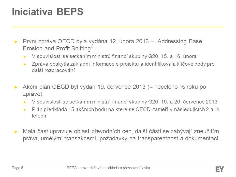 """Iniciativa BEPS První zpráva OECD byla vydána 12. února 2013 – """"Addressing Base Erosion and Profit Shifting"""