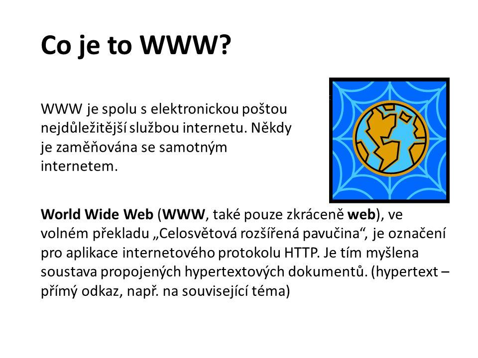 Co je to WWW WWW je spolu s elektronickou poštou nejdůležitější službou internetu. Někdy je zaměňována se samotným internetem.