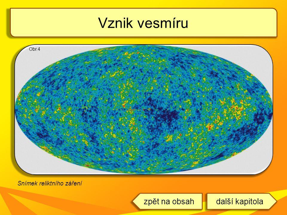 Vznik vesmíru zpět na obsah další kapitola Snímek reliktního záření