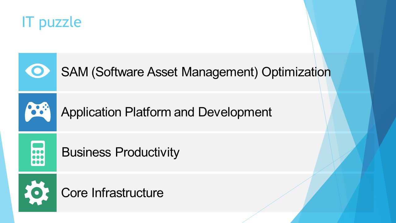 IT puzzle SAM (Software Asset Management) Optimization