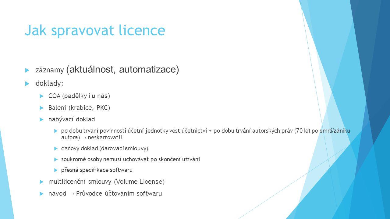 Jak spravovat licence záznamy (aktuálnost, automatizace) doklady: