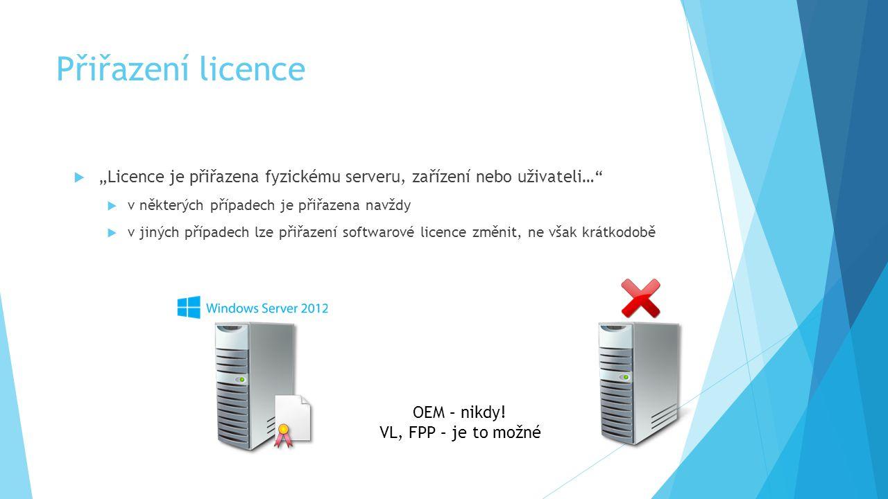 """Přiřazení licence """"Licence je přiřazena fyzickému serveru, zařízení nebo uživateli… v některých případech je přiřazena navždy."""
