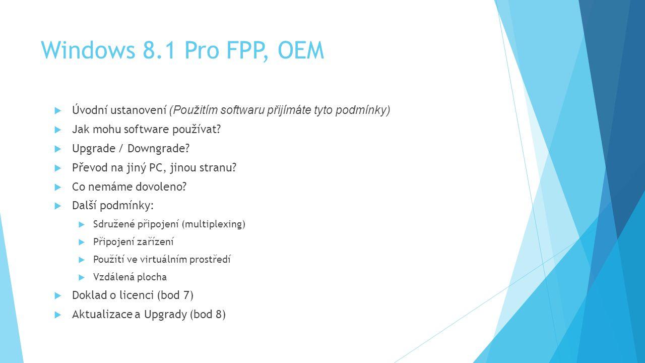 Windows 8.1 Pro FPP, OEM Úvodní ustanovení (Použitím softwaru přijímáte tyto podmínky) Jak mohu software používat