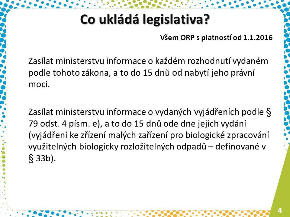Co ukládá legislativa Všem ORP s platností od 1.1.2016.