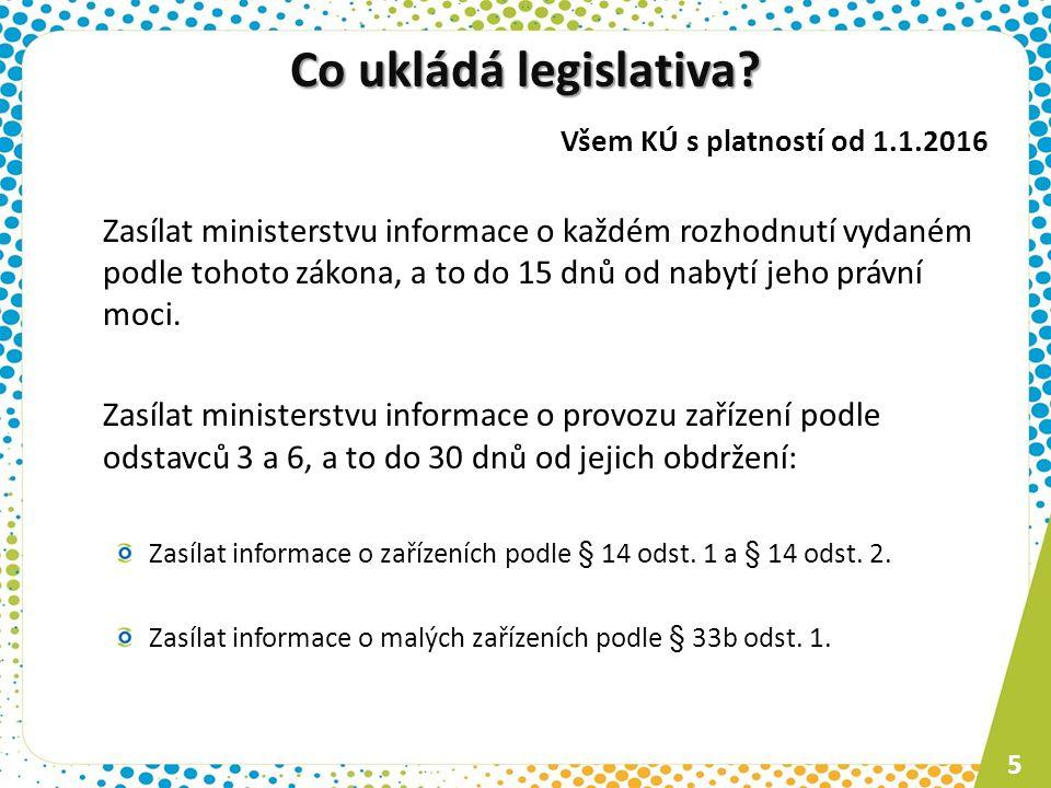 Co ukládá legislativa Všem KÚ s platností od 1.1.2016