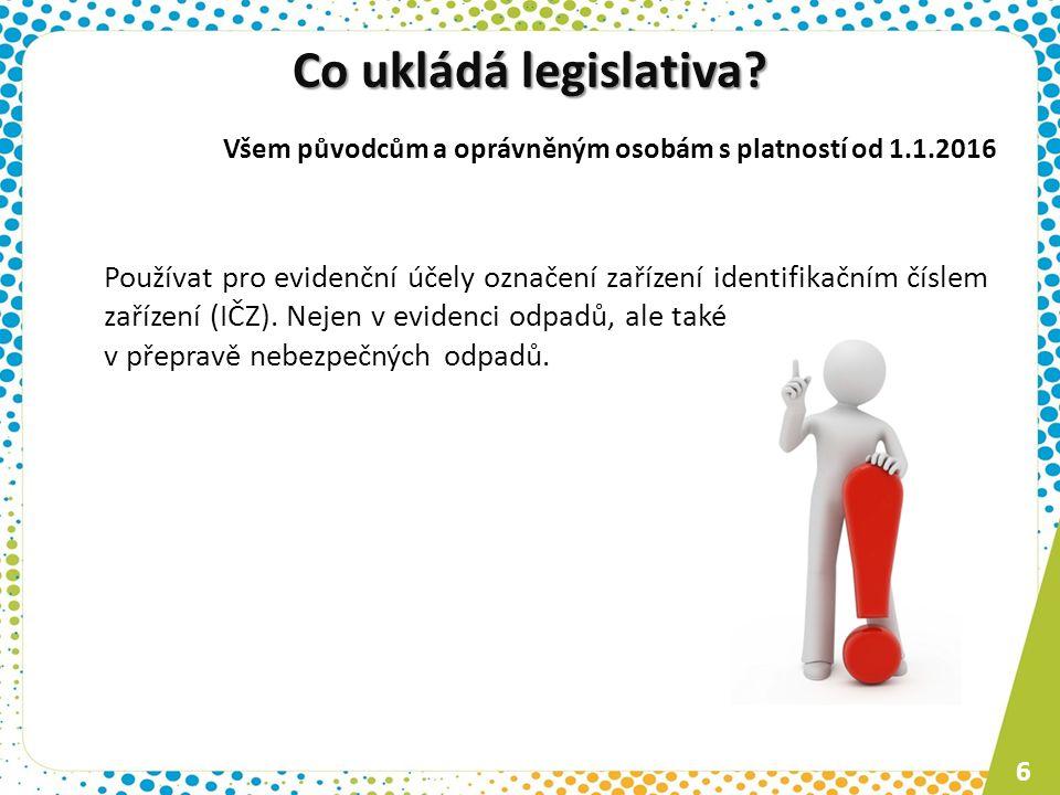 Co ukládá legislativa Všem původcům a oprávněným osobám s platností od 1.1.2016.