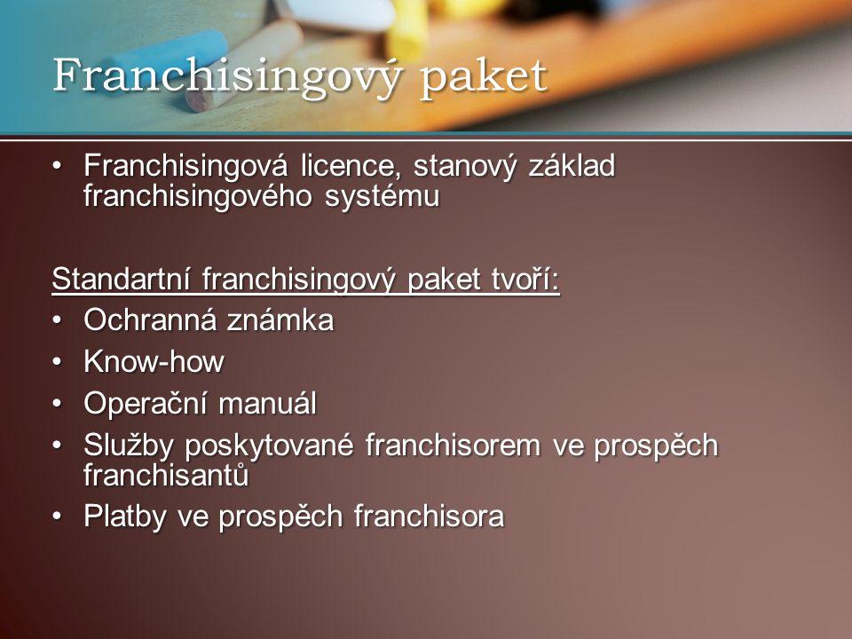 Franchisingový paket Franchisingová licence, stanový základ franchisingového systému. Standartní franchisingový paket tvoří: