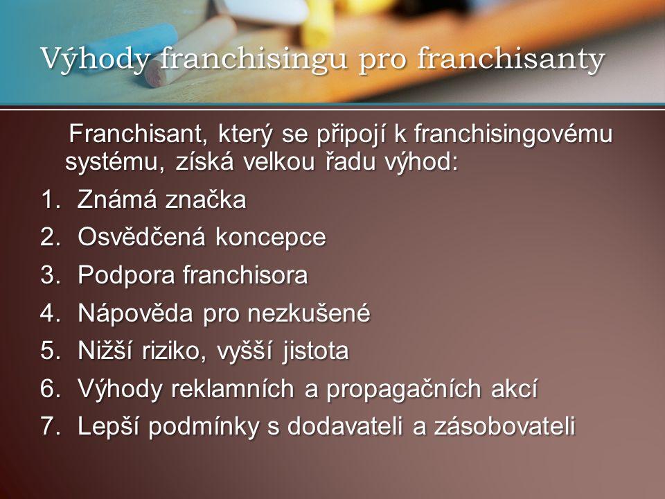 Výhody franchisingu pro franchisanty