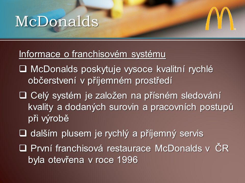 McDonalds Informace o franchisovém systému