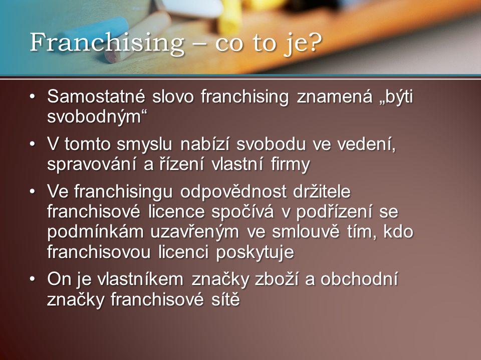 "Franchising – co to je Samostatné slovo franchising znamená ""býti svobodným"