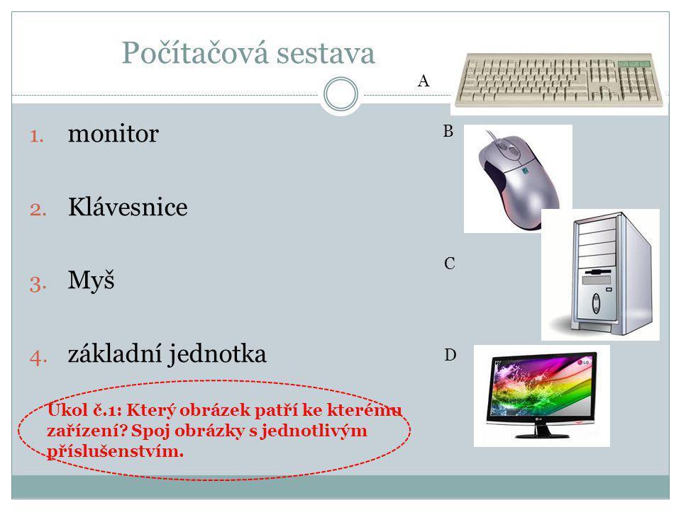Počítačová sestava monitor Klávesnice Myš základní jednotka A B C D