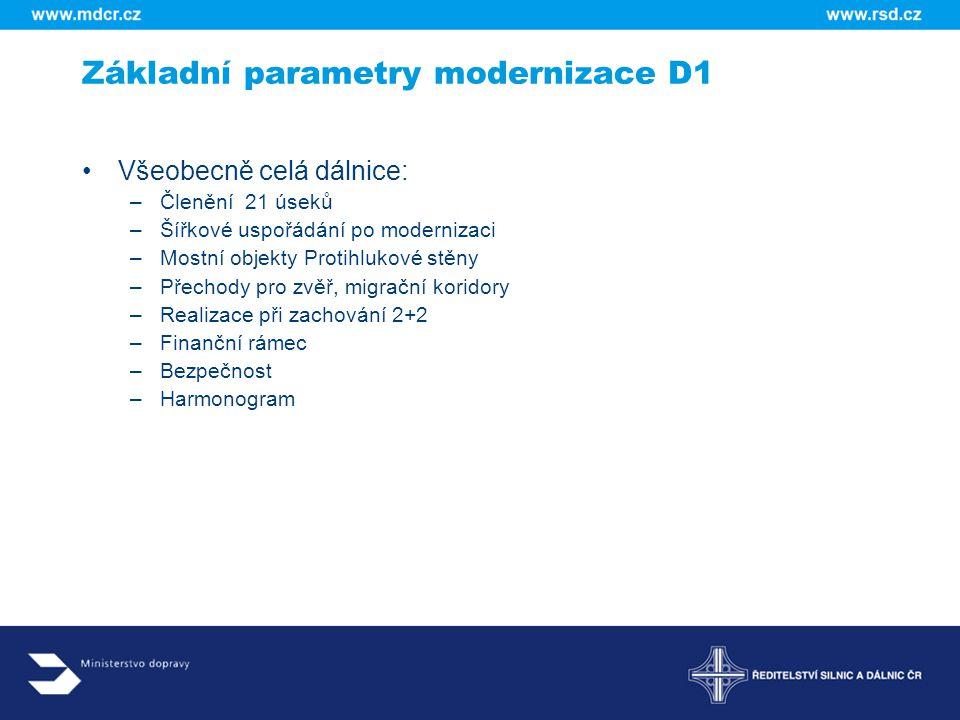 Základní parametry modernizace D1
