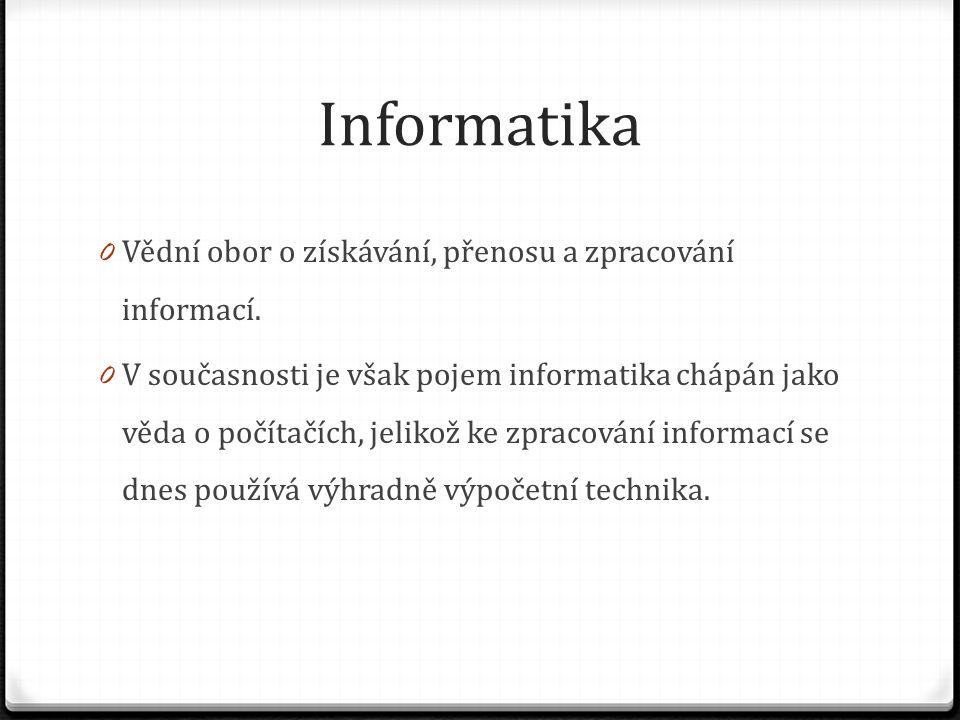 Informatika Vědní obor o získávání, přenosu a zpracování informací.