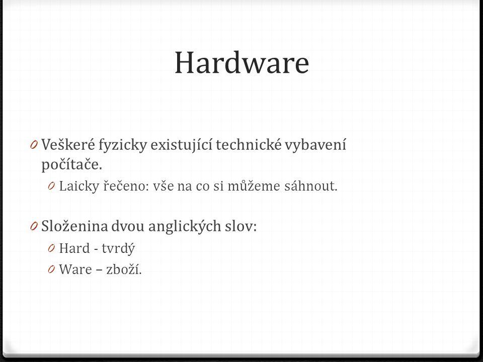 Hardware Veškeré fyzicky existující technické vybavení počítače.