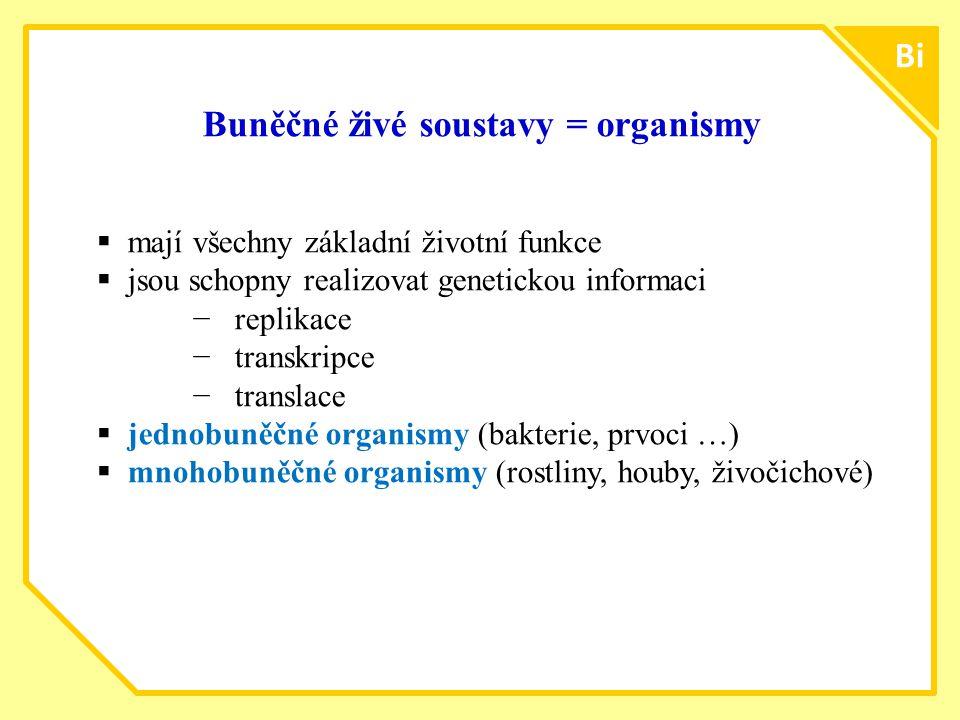 Buněčné živé soustavy = organismy