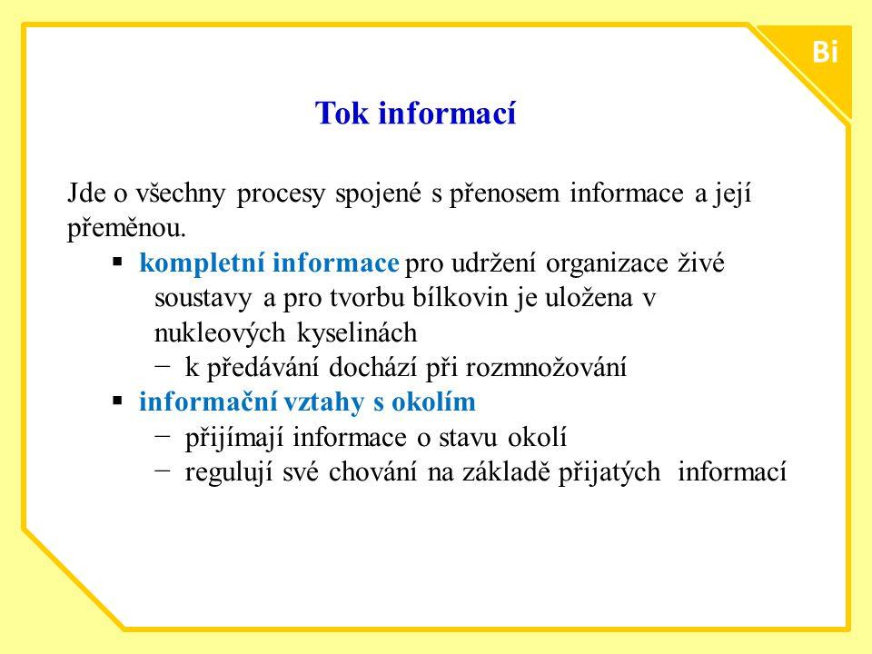 ttt77 Bi. Tok informací. Jde o všechny procesy spojené s přenosem informace a její přeměnou.