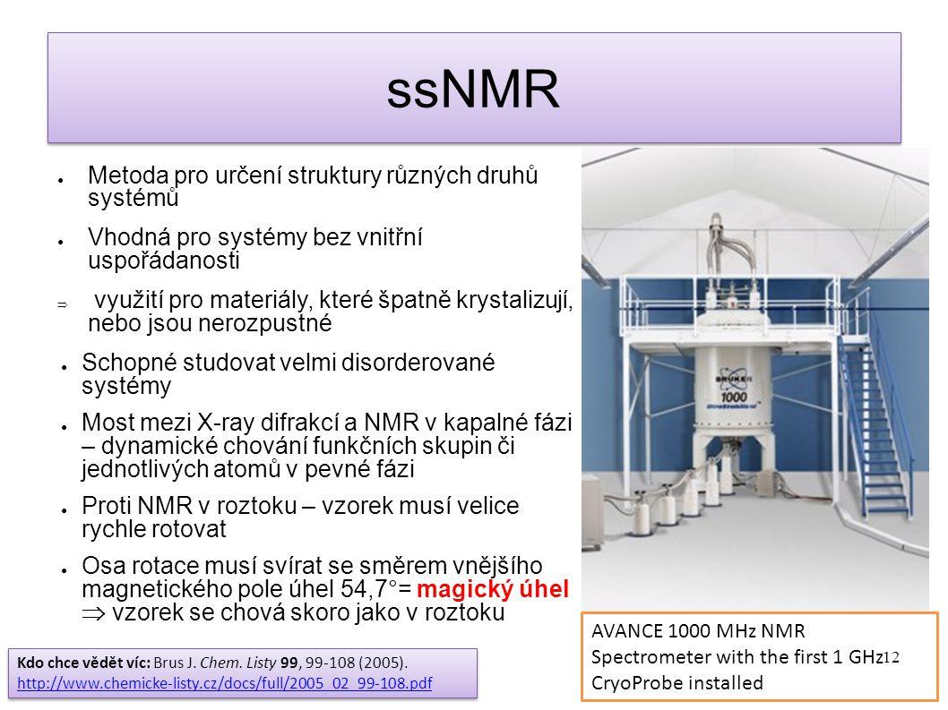 ssNMR Metoda pro určení struktury různých druhů systémů