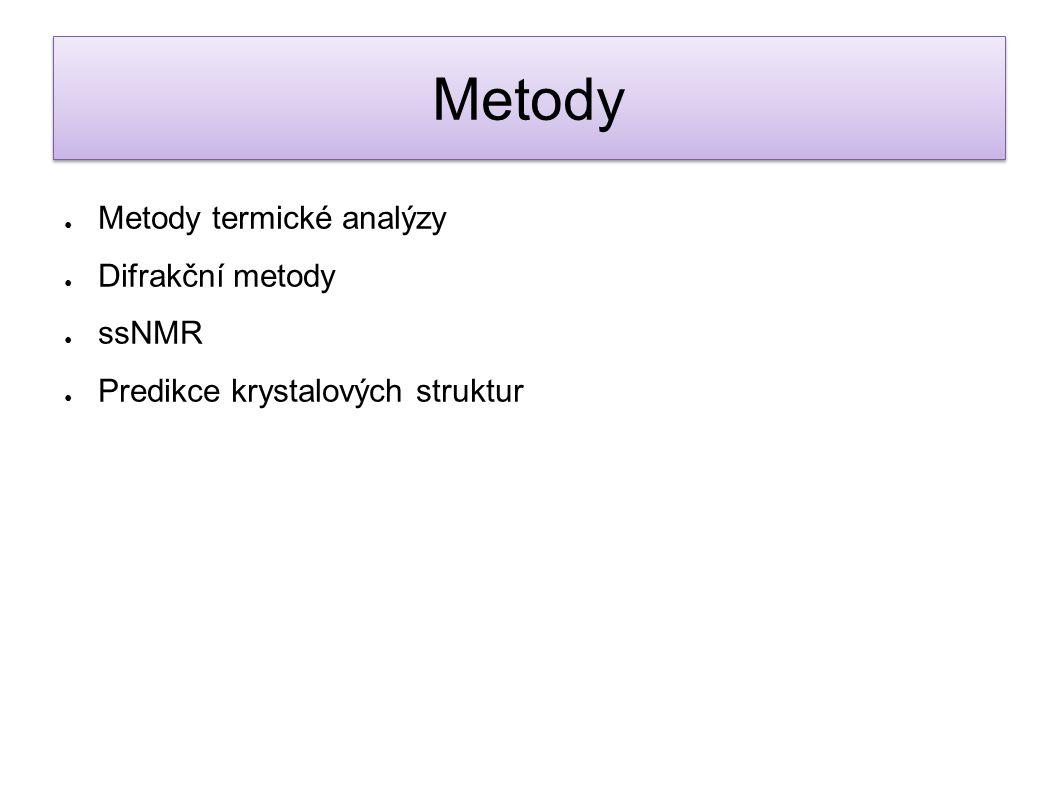 Metody Metody termické analýzy Difrakční metody ssNMR