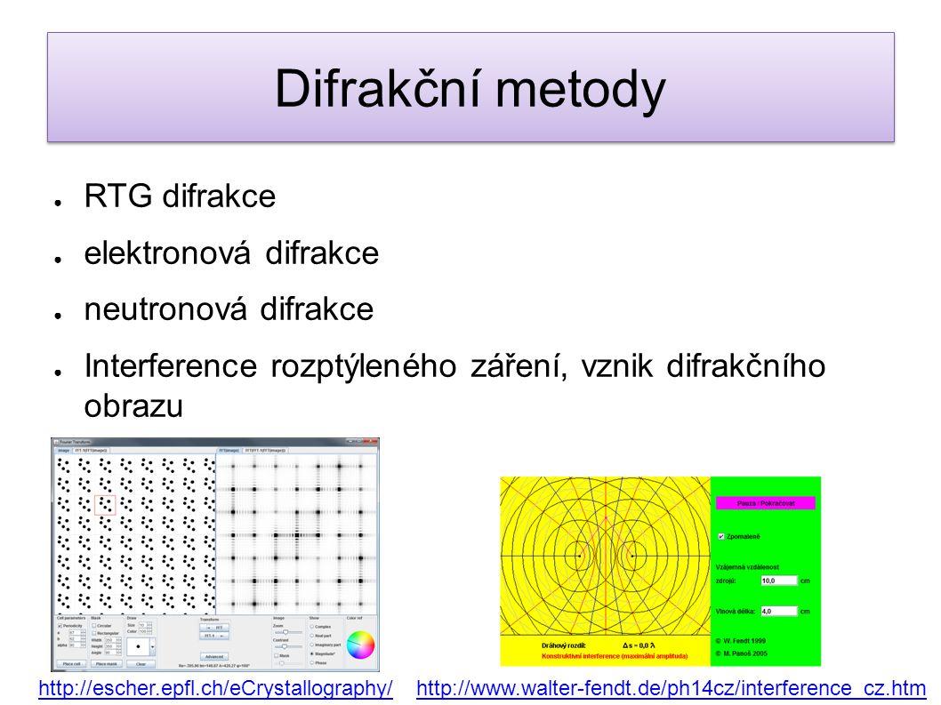 Difrakční metody RTG difrakce elektronová difrakce neutronová difrakce