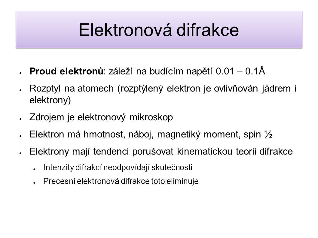 Elektronová difrakce Proud elektronů: záleží na budícím napětí 0.01 – 0.1Å.