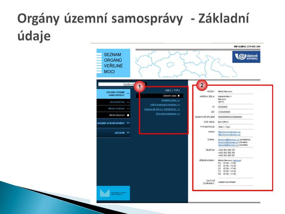 Orgány územní samosprávy - Základní údaje