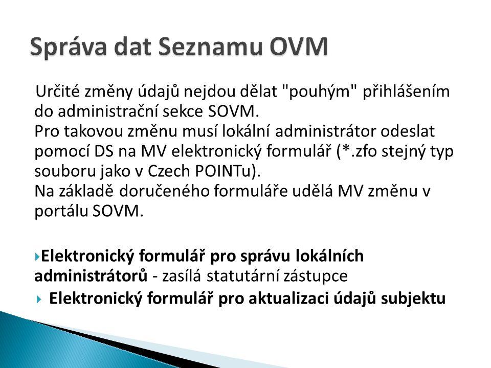 Správa dat Seznamu OVM